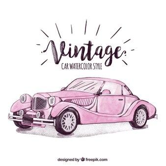 Mão carro elegante desenhada do vintage na cor-de-rosa