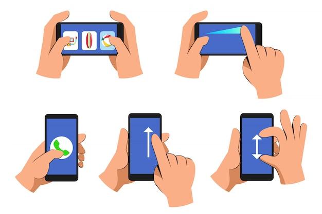Mão casual dos desenhos animados operando conjunto de coleta de telefone inteligente