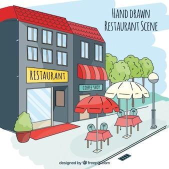 Mão cena do restaurante desenhada