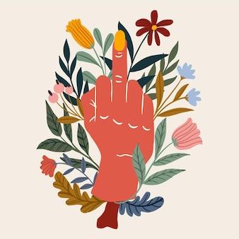 Mão cercada por flores mostrando o dedo médio