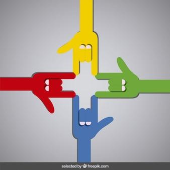 Mão-chifres coloridos