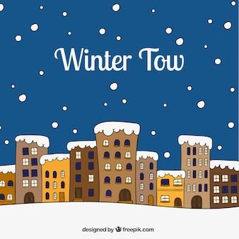 Mão cidade inverno desenhada