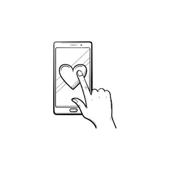 Mão clicando em um coração na tela do smartphone ícone de desenho de contorno desenhado de mão. rede social, conceito de avaliação