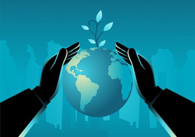 Mão, cobrindo o planeta terra