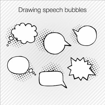 Mão coleção da bolha do discurso desenhado