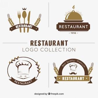 Mão coleção logotipo restaurante desenhada