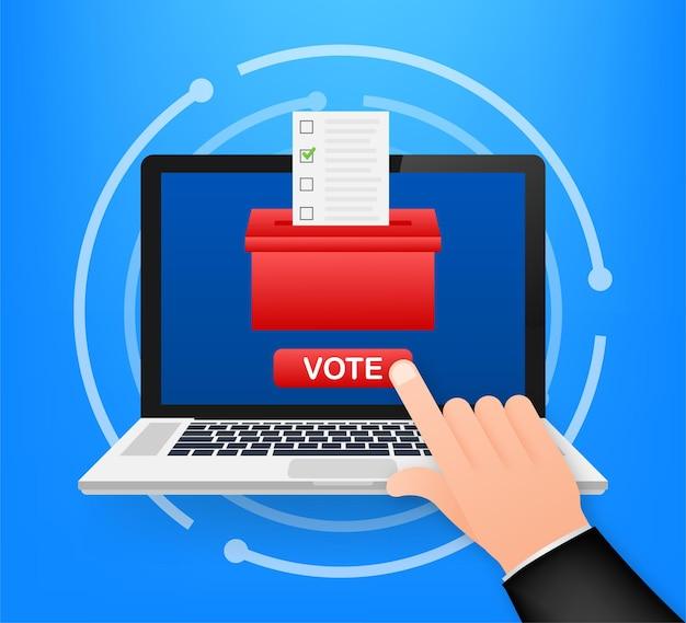 Mão coloca o boletim de votação na caixa de votação. conceito de votação. urna eleitoral. ilustração em vetor das ações.