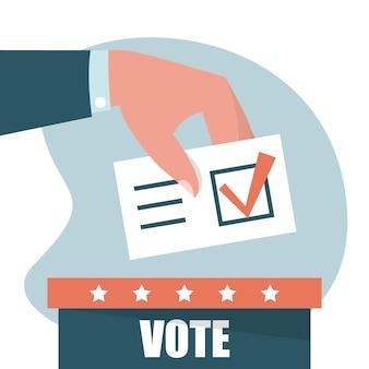 Mão coloca o voto na ilustração da urna eleitoral