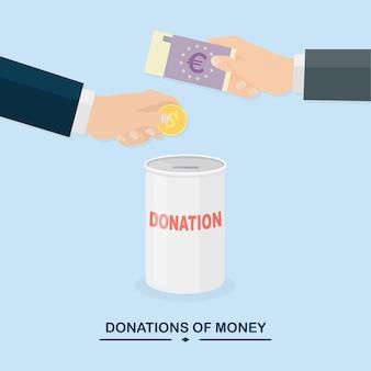 Mão colocando moedas, dinheiro no frasco. doe, dando dinheiro, caridade, conceito de voluntariado. caixa de doação.