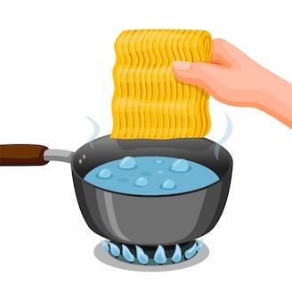 Mão coloque o macarrão em água fervente na panela. cozinhar macarrão instantâneo, instrução de comida em vetor de ilustração de desenho animado isolado