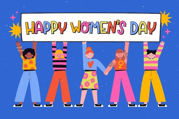 Mão colorida desenhada dia da mulher