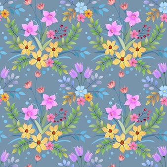 Mão colorida desenhada flores sem costura padrão vector design. pode usar para papel de parede de tecido têxtil.