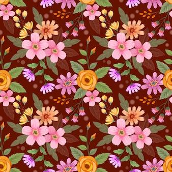 Mão colorida desenhada flores sem costura padrão vector design.