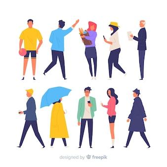 Mão colorida desenhadas pessoas fazendo ações diferentes
