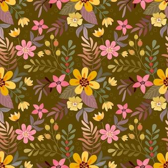 Mão colorida desenhar flores no padrão sem emenda de cor marrom para papel de parede de tecido têxtil.