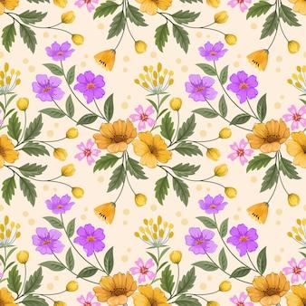 Mão colorida desenhar flores no padrão sem emenda de fundo amarelo para papel de parede de tecido têxtil.