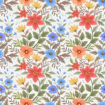 Mão colorida desenhar flores papel de parede padrão sem emenda.