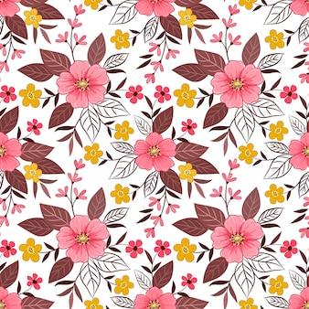 Mão colorida desenhar flores sem costura padrão