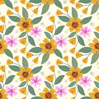 Mão colorida desenhar padrão sem emenda de flores amarelas e rosa para papel de parede de tecido têxtil.