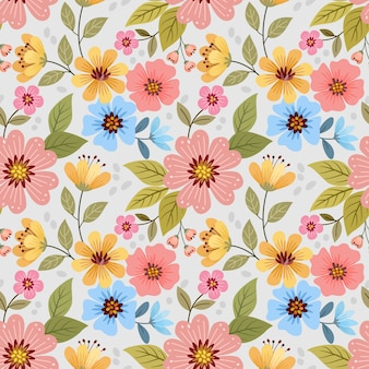 Mão colorida desenhar papel de parede padrão sem emenda de flores.