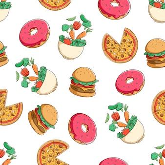 Mão colorida fast-food desenhada em padrão uniforme