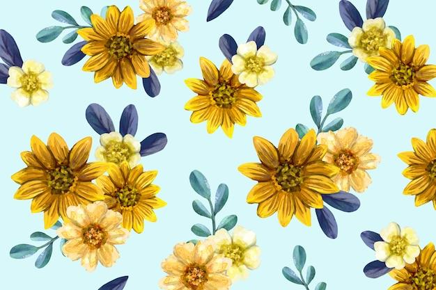 Mão colorida pintada fundo floral