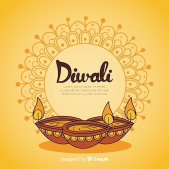 Mão colorido desenhado fundo de diwali