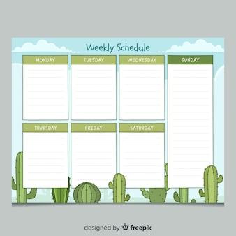 Mão colorido desenhado modelo de planejador semanal