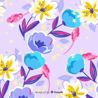 Mão colorido pintado fundo de flores