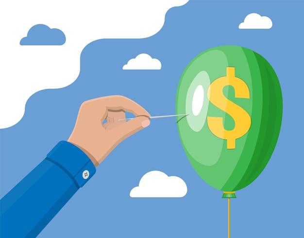 Mão com agulha perfura o balão com o cifrão. conceito de problema econômico ou crise financeira, recessão, inflação, falência, perda de renda, perda de capital. estilo simples de ilustração vetorial