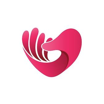 Mão com amor forma logo vector