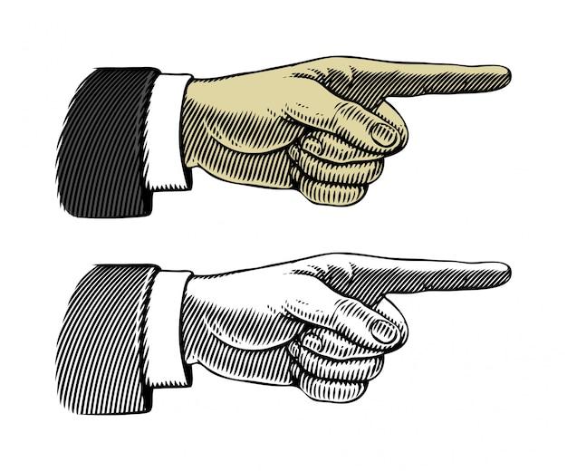 Mão, com, apontar dedo