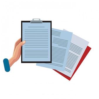 Mão, com, área de transferência, e, documentos