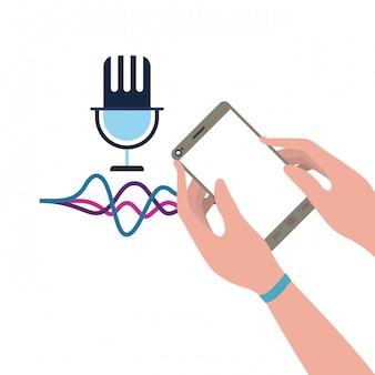 Mão com assistente de smartphone e voz
