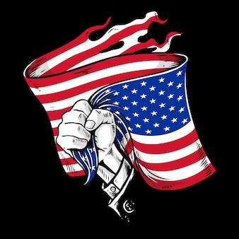 Mão com bandeira americana