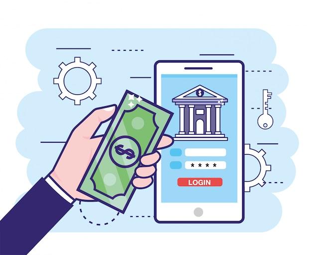 Mão com bill e smartphone com banco digital