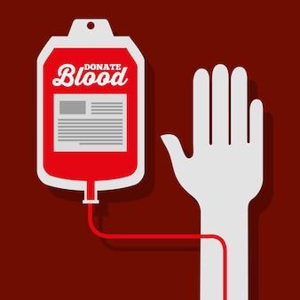 Mão com bolsa medicamento para doação de sangue