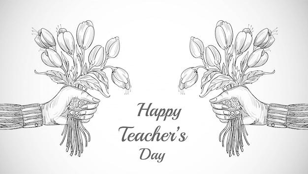 Mão com buquê de flores esboço plano de fundo do dia do professor