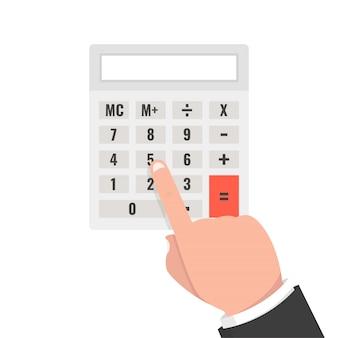 Mão com calculadora
