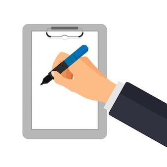 Mão com caneta de escrever em uma lista de verificação. empresário assina documento.