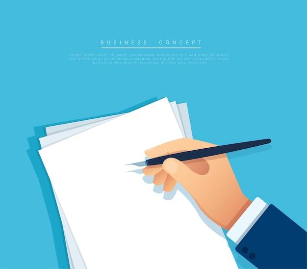 Mão com caneta escrevendo na página em branco