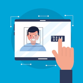 Mão com cara de digitalização de rosto móvel