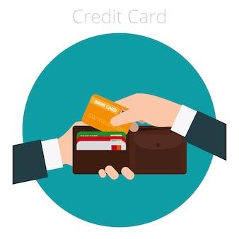 Mão, com, cartão crédito
