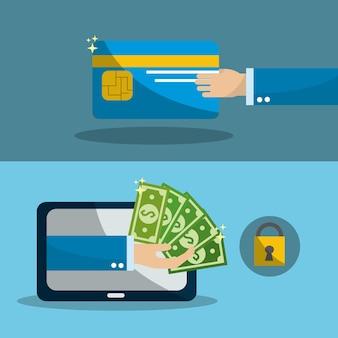 Mão com cartão de crédito e computador com contas de segurança