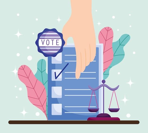 Mão com cédula de voto