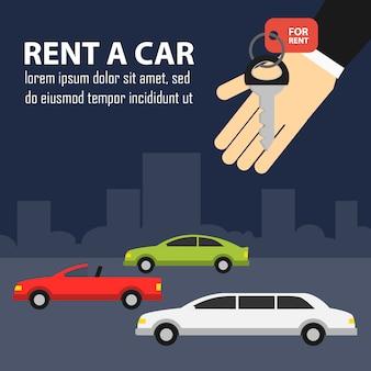 Mão com chaves e carros na estrada alugar uma ilustração de carro