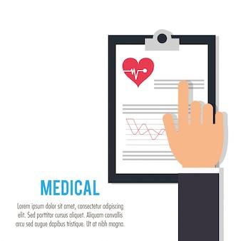 Mão com clipboard cuidados médicos