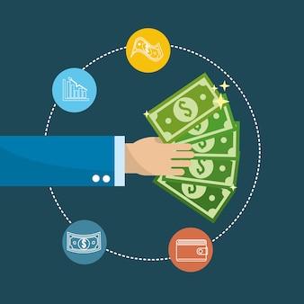 Mão com contas verdes e ícone de negócios