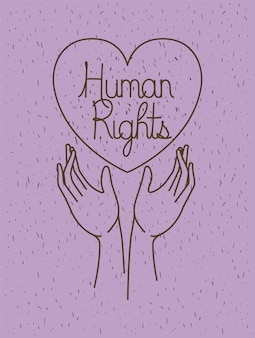 Mão com coração direitos humanos desenhados