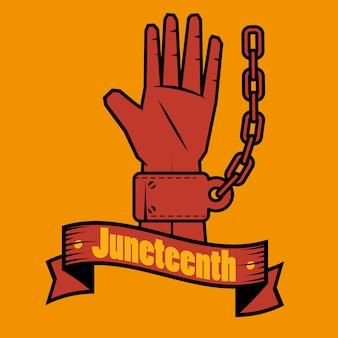 Mão, com, corrente, e, juneteenth, sinal